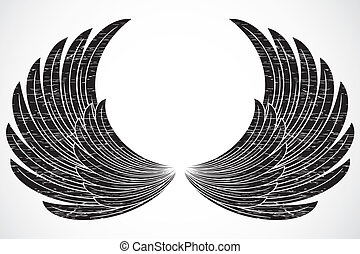 Vector Distressed Wings - Set of illustrated wings. Easy to...