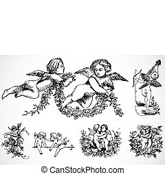 Vector Cupid Set - Detailed illustrations, easy to scale and...