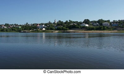 Russian town near river summer scenic view