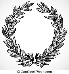 Vector Olive Wreath - Illustrated laurel wreath Easy to edit...
