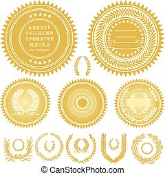 Vector Gold Seals and Wreaths - Set of gold medals or seals...