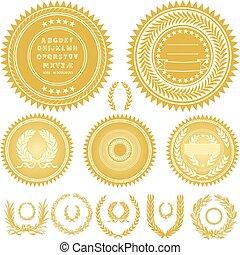 vector, oro, sellos, coronas