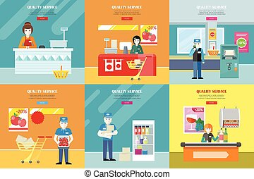 Set of Quality Service in Shop Vector Banners. - Set of...