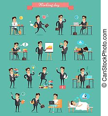 Working Day in Office Characters Vector Set. - Working day...