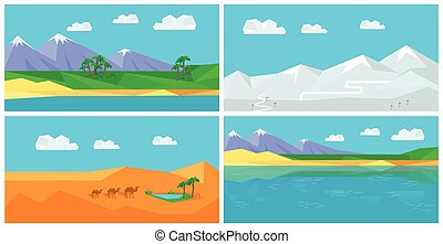 Set of Natural Landscapes in Flat - Set of natural...