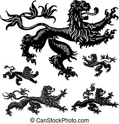 Vector Medieval Lions