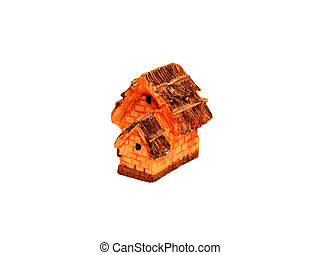 Small toys house isolated on white background.