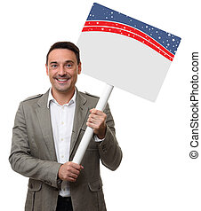handsome man holding a blank placard. Isolated on white...