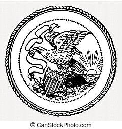 Vector Eagle Seal - Eagle crest illustration. Easy to edit...