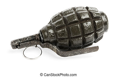 old Hand grenade Weapon of terrorists Isolated on white...