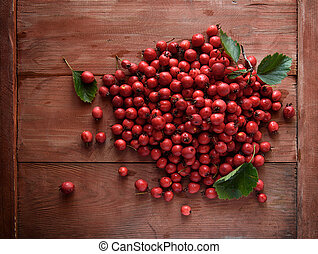 Rose hip. Briar on wooden background - Rose hip. Briar on...