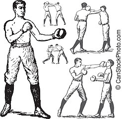 Vector Vintage Boxing Illustrations - Set of vector retro...