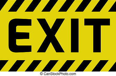 Exit sign yellow with stripes, road sign variation Bright...