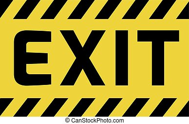 Exit sign yellow with stripes, road sign variation. Bright...