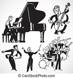 Vector Vintage Musicians and Instruments - Vintage vector...