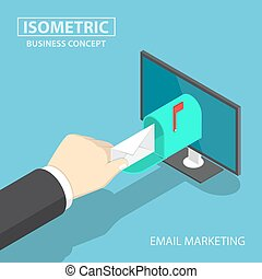 Isometric businessman hand getting mail delivery from monitor