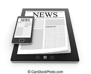 news on 3D mobile phone and digital tablet pc computer isolated on white