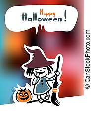 halloween young witch - Cartoon young witch and pumpkin on a...