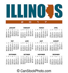 A 2017 creative Illinois calendar with the state outline