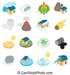 Natural disaster catastrophe icons set in isometric 3d...