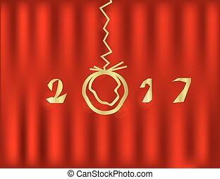 2017  Happy New Year red Background