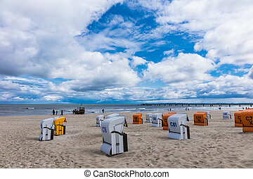 The beach in Ahlbeck on the island Usedom (Germany).