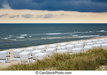 Beach chairs in Zinnowitz Germany on the island Usedom