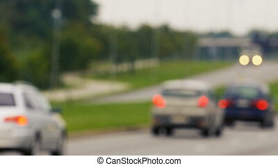 Unfocused view on traffic jams in Lithuania, Blurred scene.