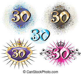 30th Birthday or Anniversary - Vector Illustration for...