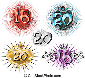 18th Birthday or 20th Anniversary - Vector Illustration for...