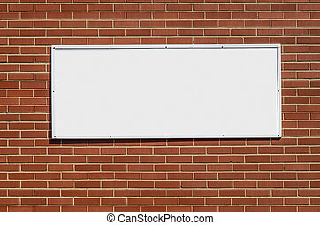 Brick Wall with Blank Sign - Blank White Sign for your Copy...