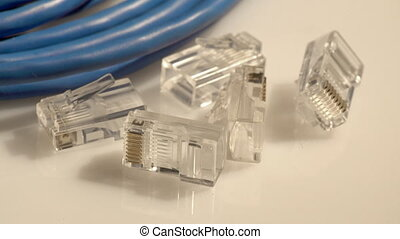 Computer network cables and connectors - Closeup of a set of...