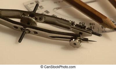 Closeup of a set of compasses