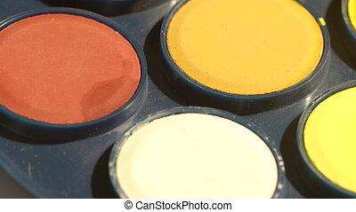 Watercolor paint spots - Macro of moving watercolor paints...