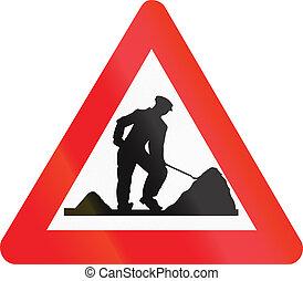 Belgian warning road sign - road works.