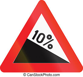 Belgian warning road sign - Steep hill downward.