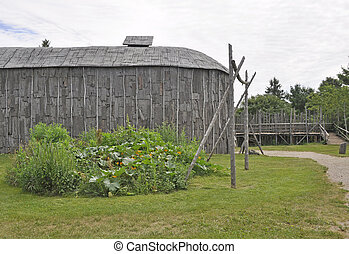 Iroquois Longhouse - reconstructed 15th century Iroquoian...