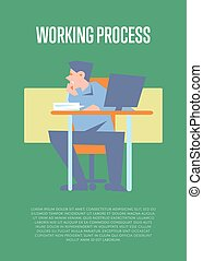 Working process banner with bewildered employee - Young...