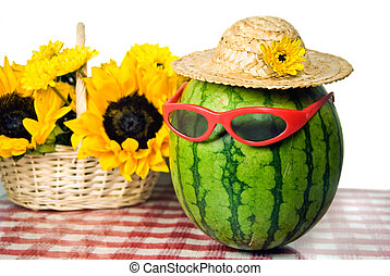 Fruity Fun - Sunglasses on a watermelon with sunflower...