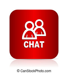 chat red square modern design icon