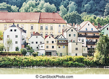 Beautiful old houses on the waterfront in Passau, Germany....