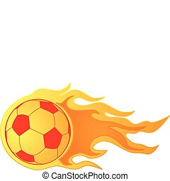 Soccer ball on fire - Illustration of a fast moving soccer...