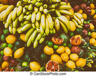 Tropical Summer Fruits In Fruit Market