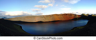 Lljotipollur, crater lake in Landmannalaugar valley, Iceland