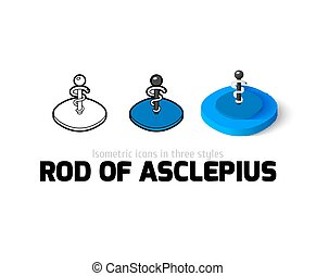 Rod of Asclepius icon in different style - Rod of Asclepius...