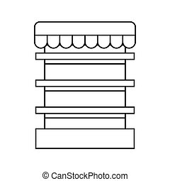 Empty supermarket refrigerator icon, outline style - Empty...