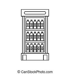 Fridge with refreshments drinks icon in outline style...