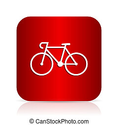 bicycle red square modern design icon