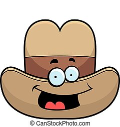 Cowboy Hat Smiling - A cartoon cowboy hat smiling and happy.