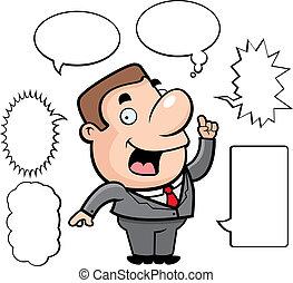 Businessman Talking - A happy cartoon businessman talking...